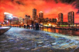 Boston Cityscape at Night 02