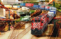 Railroad Transport Concept Photo Montage 02