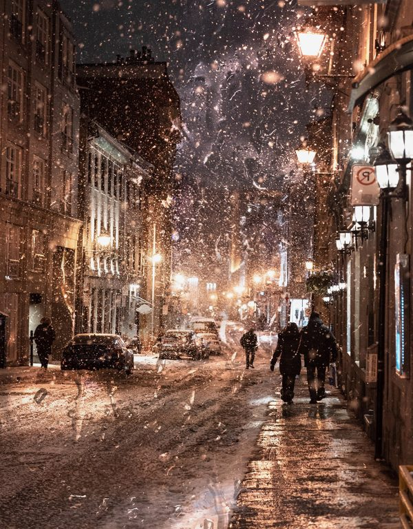 Bad Winter Weather in City Street