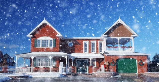 Cozy Modern Brick House with Light Snow Fall