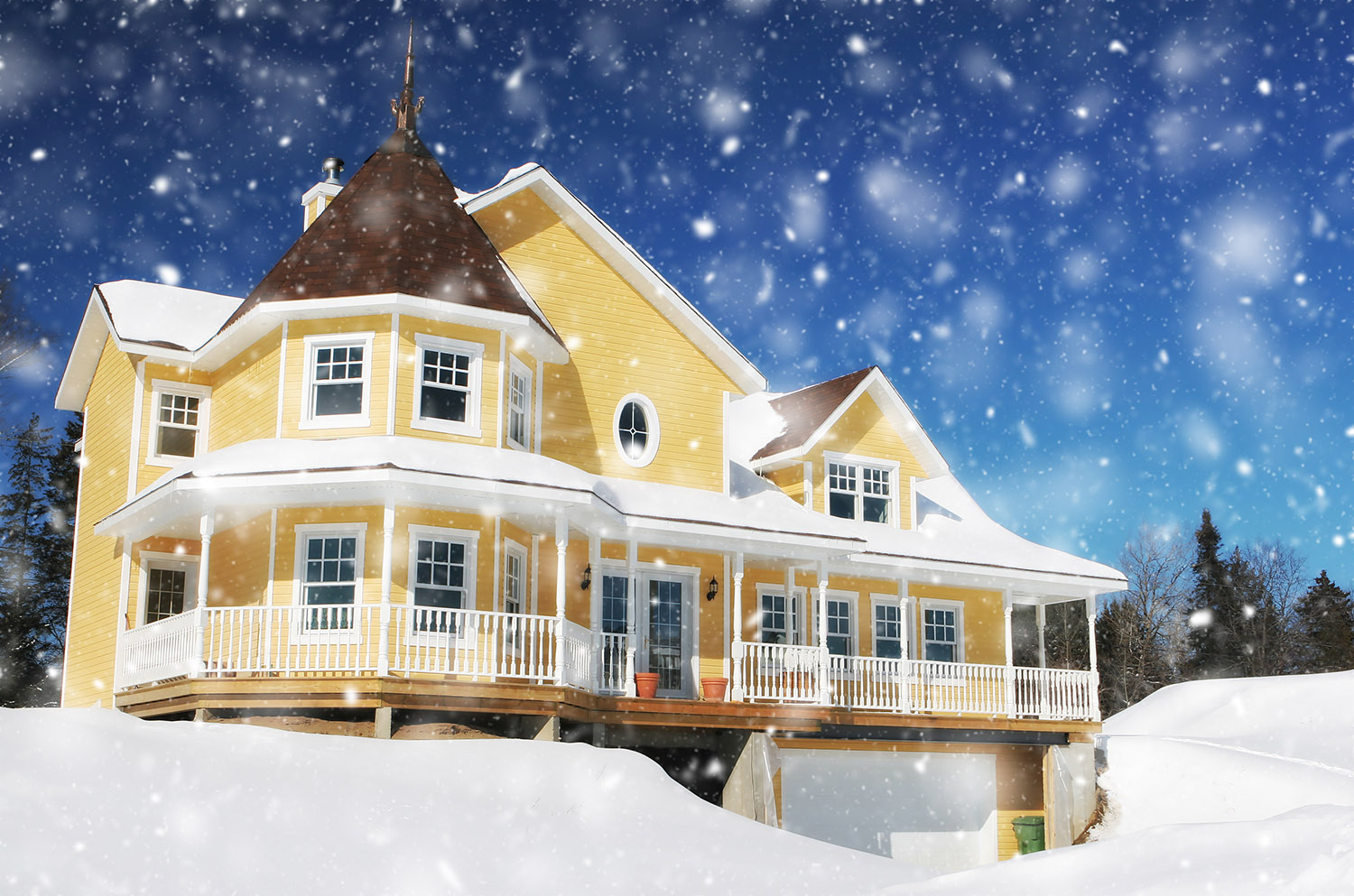 Cozy Modern Yellow House with Light Snow Fall