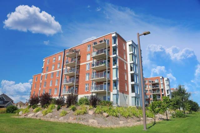 Stylish Mid-Rise Brick Apartment Building